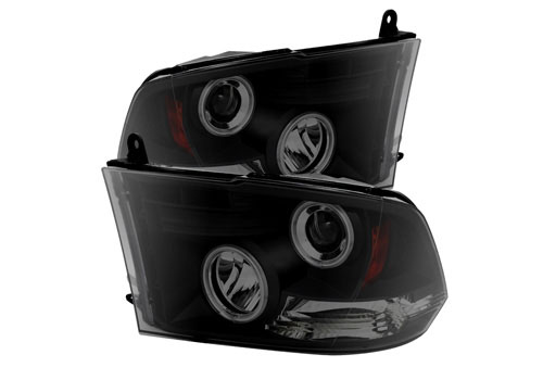 BlackSmoke CCFL Halo Headlights w/Daytime Lights 09-18 DODGE RAM