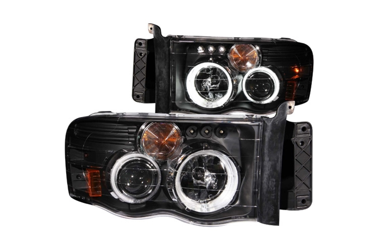 Anzo Black Halogen Projector Headlights 02-05 Dodge Ram