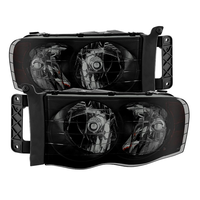 XTune Black Smoked Headlights 02-05 Dodge Ram