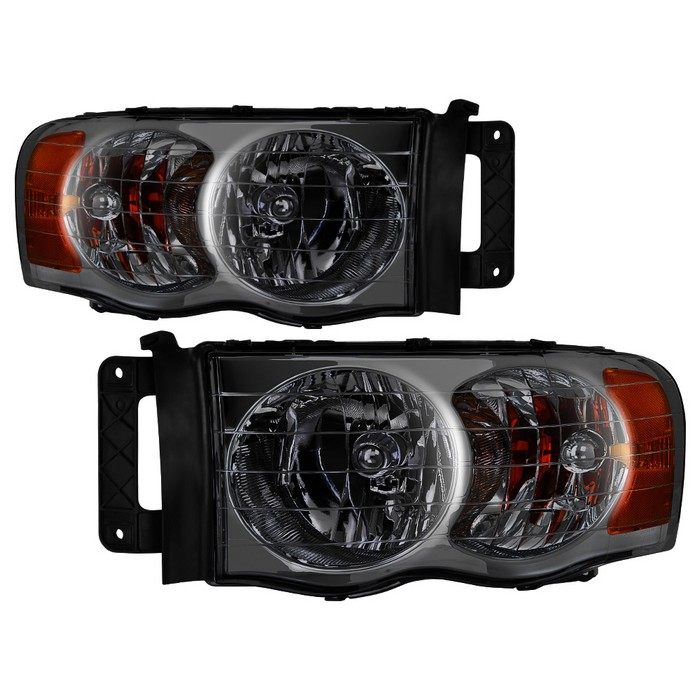 Spyder Chrome Smoked Headlights 02-05 Dodge Ram