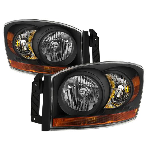 XTune Black Crystal Headlights 06-08 Dodge Ram