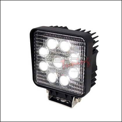 "Spec-D Universal 4.5"" Square 9 LED Black Trim Work Lights"