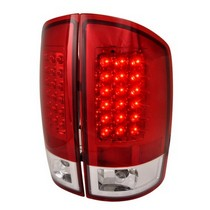 Spec-D Chrome Housing Red Clear LED Tail Lights 02-06 Dodge Ram