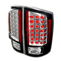 Spec-D Black Housing Clear LED Tail Lights 07-08 Dodge Ram