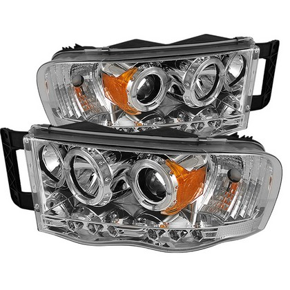Spyder LED Projector Chrome Headlights 02-05 Dodge Ram