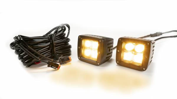 Amber/White 2-Inch Chrome Square Cube Cree Led Lights w/Harness