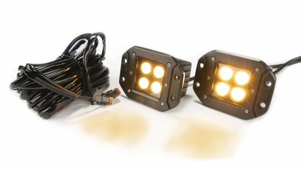 Amber/White 2-Inch Square Black Flush Mount Cree Led Lights