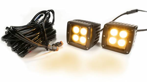 Amber/White 2-Inch Black Square Cube Cree Led Lights w/Harness