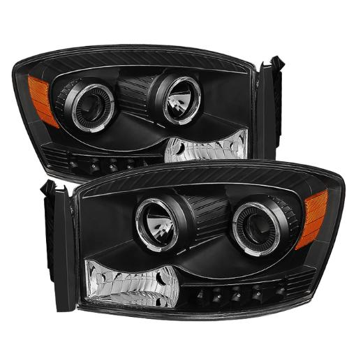 XTune Black Halo Projector Headlights 06-08 Dodge Ram