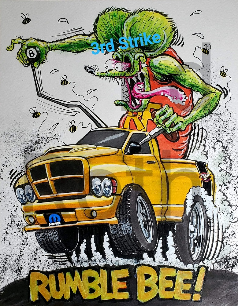 """Custom RAT FINK Licensed Rumble Bee Print 11x14"""