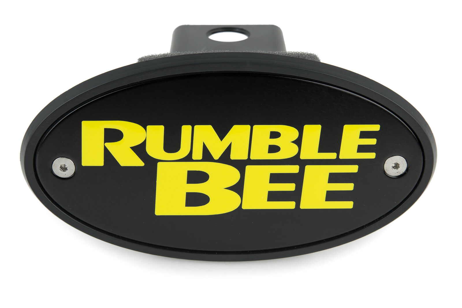 """Rumble Bee"" Black Hitch Plug with Yellow Lettering"