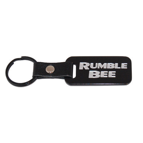 """Rumble Bee"" Black Key Chain with Silver Lettering"