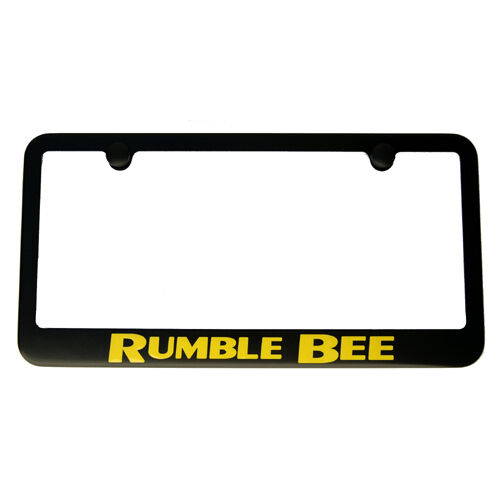 """Rumble Bee"" Black License Plate Frame with Yellow Lettering"