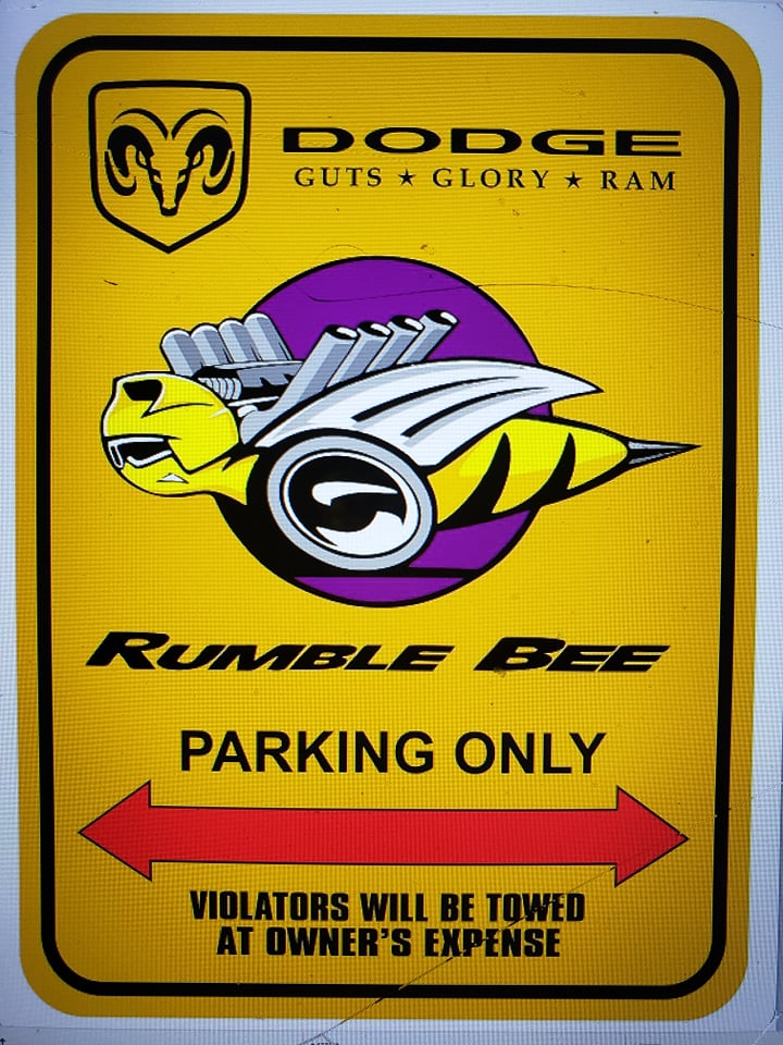 """Rumble Bee Parking Only"" Yellow Garage Sign"