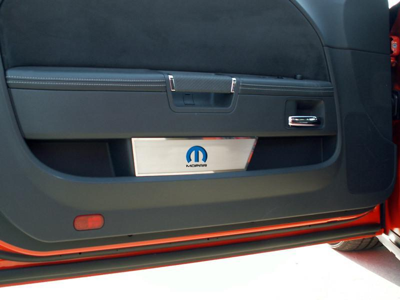 """Mopar and M"" Stainless Door Panel Covers 08-14 Dodge Challenger"