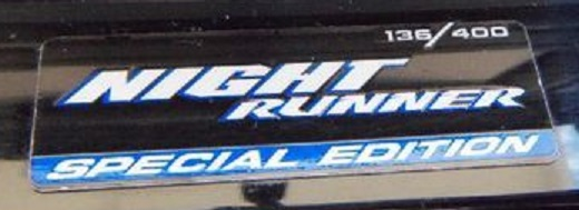 """Night Runner"" Dash Badge Emblem Dodge Ram, Dakota, SRT-10"
