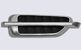 Street Scene Chrome Fender Vents Single Bar With Black Inserts
