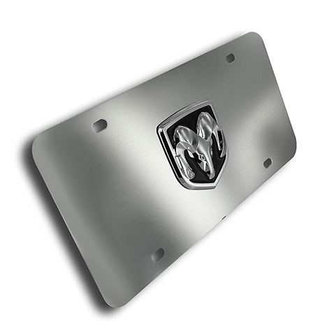 Au-Tomotive Gold Dodge Ram Head Emblem Polished License Plate