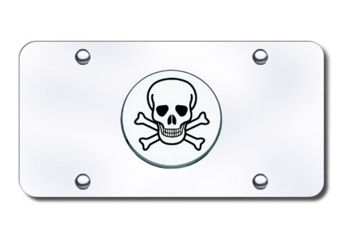 Au-Tomotive Gold Skull Crossbones Emblem Polished License Plate