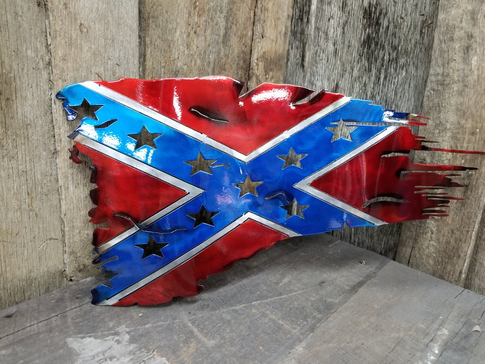 Torched Confederate Battle Flag Steel Sign