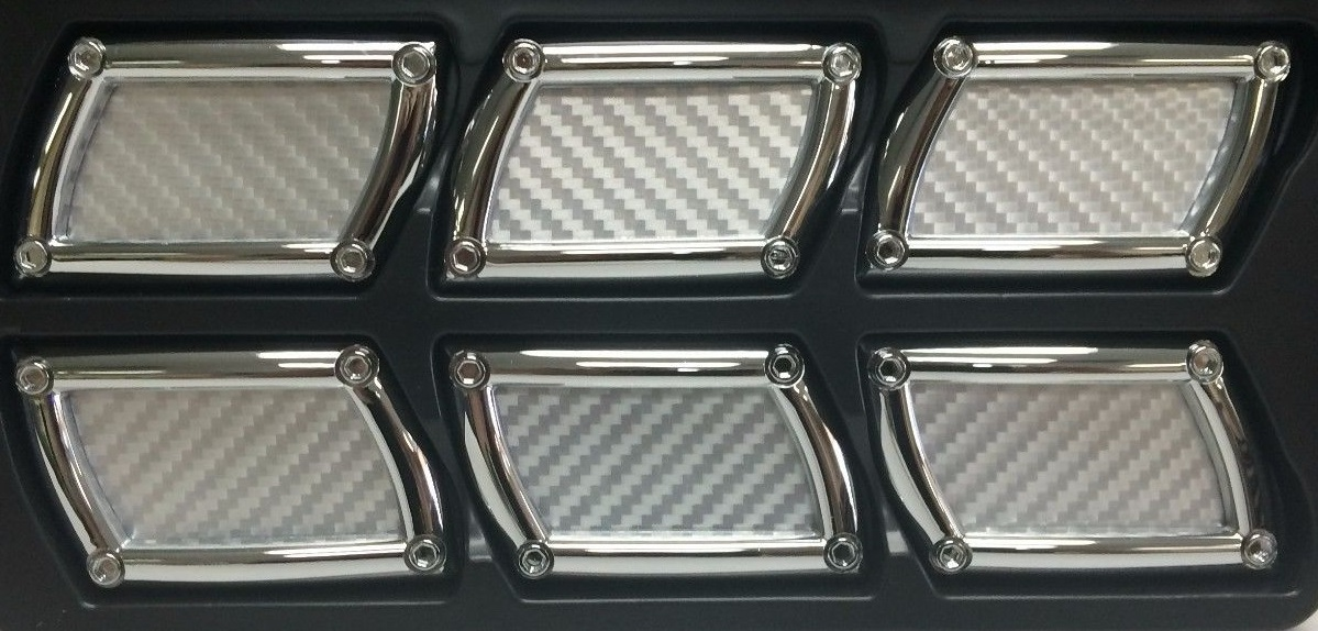Silver Carbon Fiber Stick-On Rectangular Side Vents 6 Piece Kit