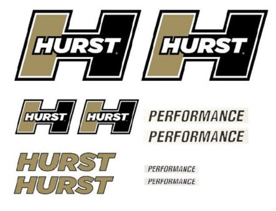 Hurst Equipped Gold-Black Logo Decals