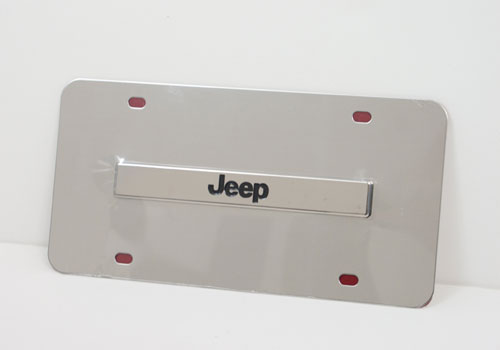 Au-Tomotive Gold Jeep Logo Chrome License Plate