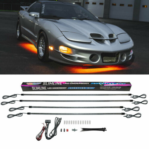 LEDGlow 4pc Orange LED Slimline Underbody Underglow Lighting Kit