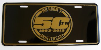 Mr Norm 50th Anniversary Gold-Black License Plate