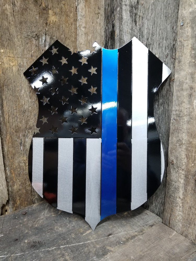 Policeman's Support Thin Blue Line Shield Flag Steel Sign
