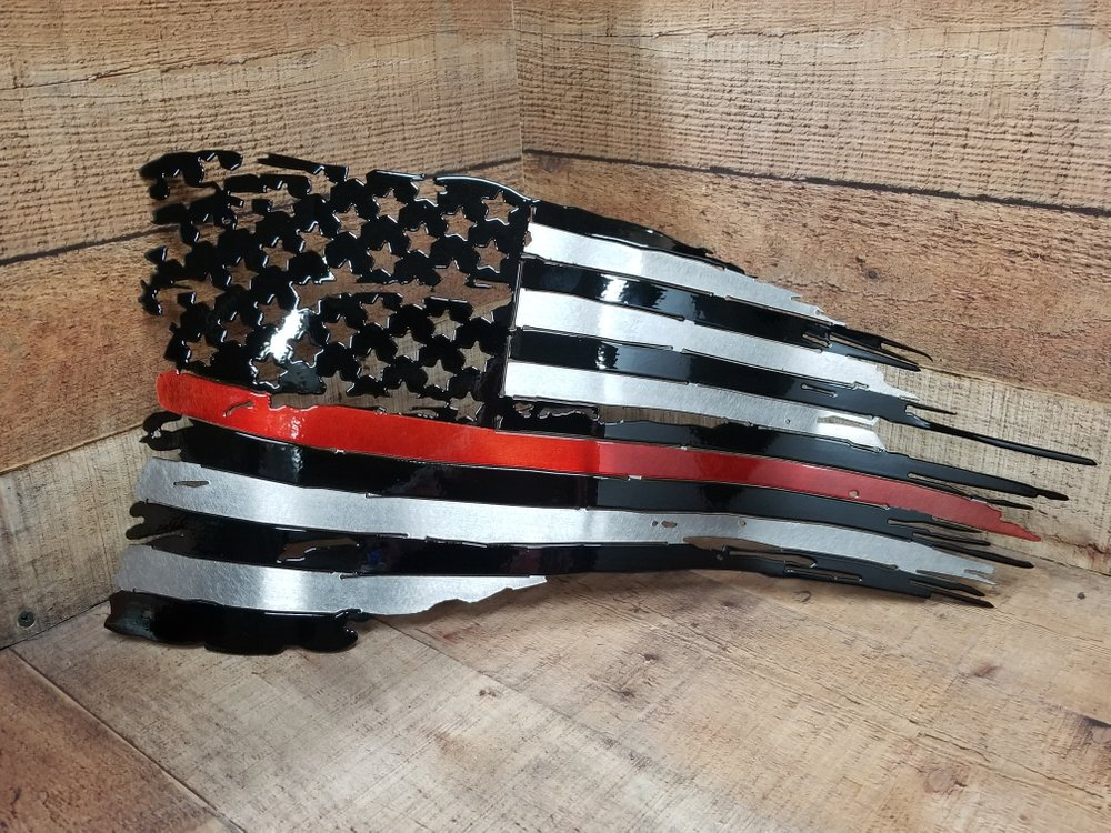 Fire Fighter's Support Thin Red Line Battle Flag Steel Sign