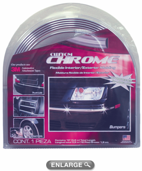 "Chrome Flexible Interior-Exterior Molding 1/4"" Wide"