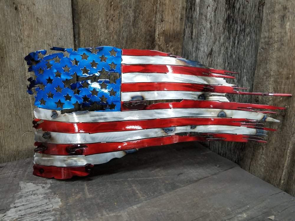 Torched American Battle Flag Steel Wall Sign