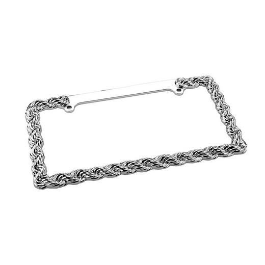Pilot 2 Hole Mount Chrome Braided Chain License Plate Frame