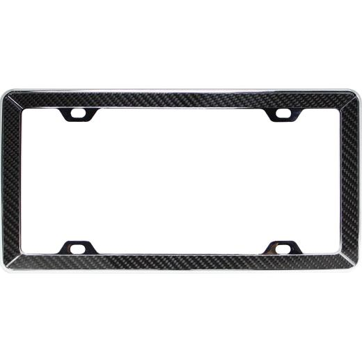 Pilot Carbon Fiber On Chrome License Frame