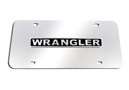Au-Tomotive Gold Wrangler Logo Chrome License Plate