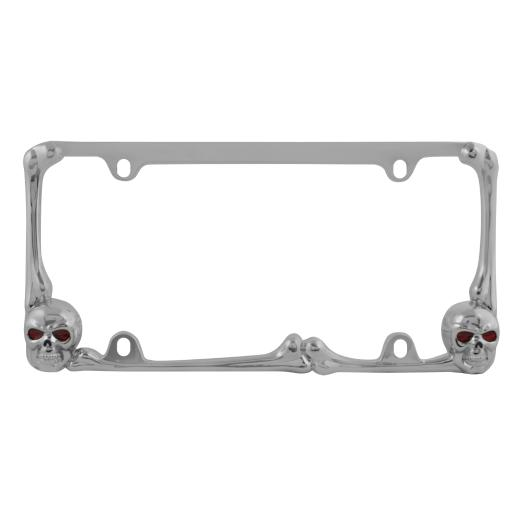 Pilot Skull W/ Red LED License Plate Frame