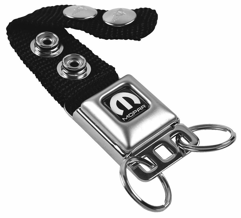 Black-White Mopar Seat Belt Key Chain
