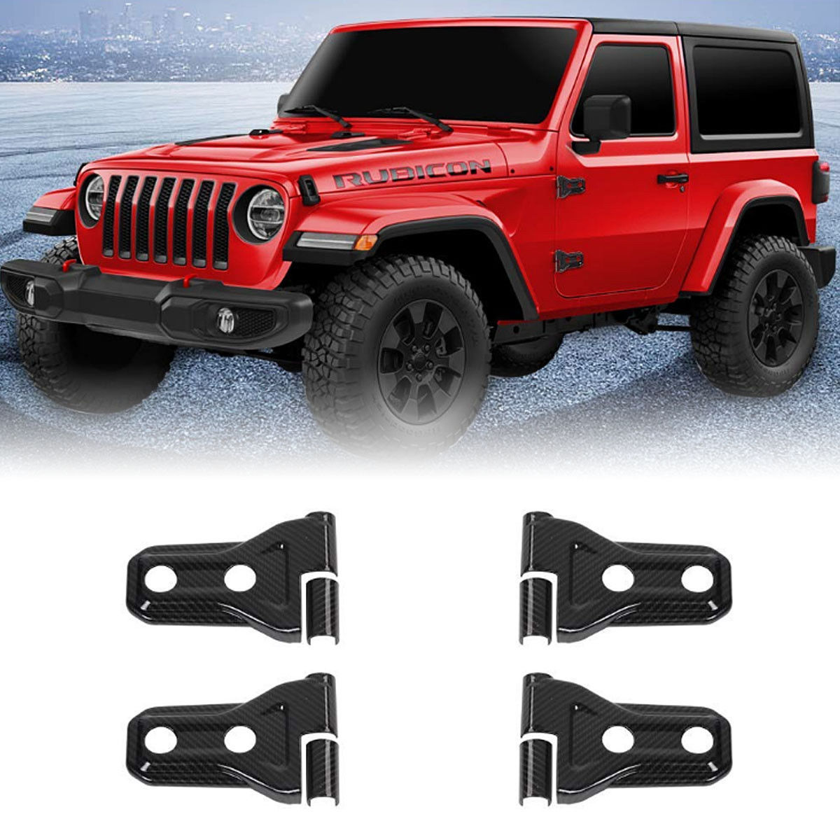 2018-up Jeep Wrangler JL Carbon Fiber 2 Door Hinge Covers